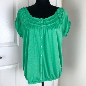 Gap green short sleeve peasant top